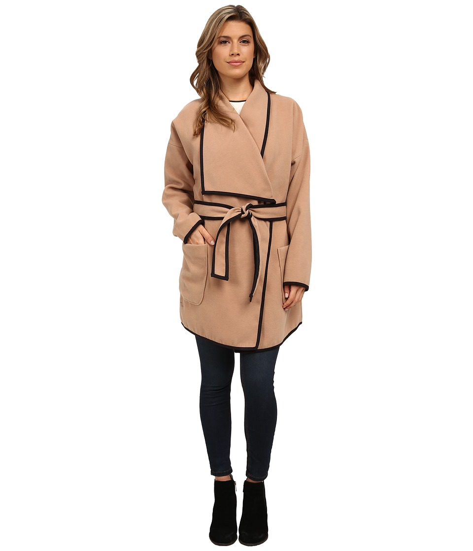 Vince Camuto - Soft Collar Belted Plush Coat (Tan) Women's Coat