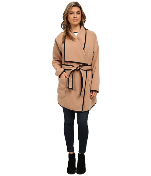 Vince Camuto - Soft Collar Belted Plush Coat (Tan) Women