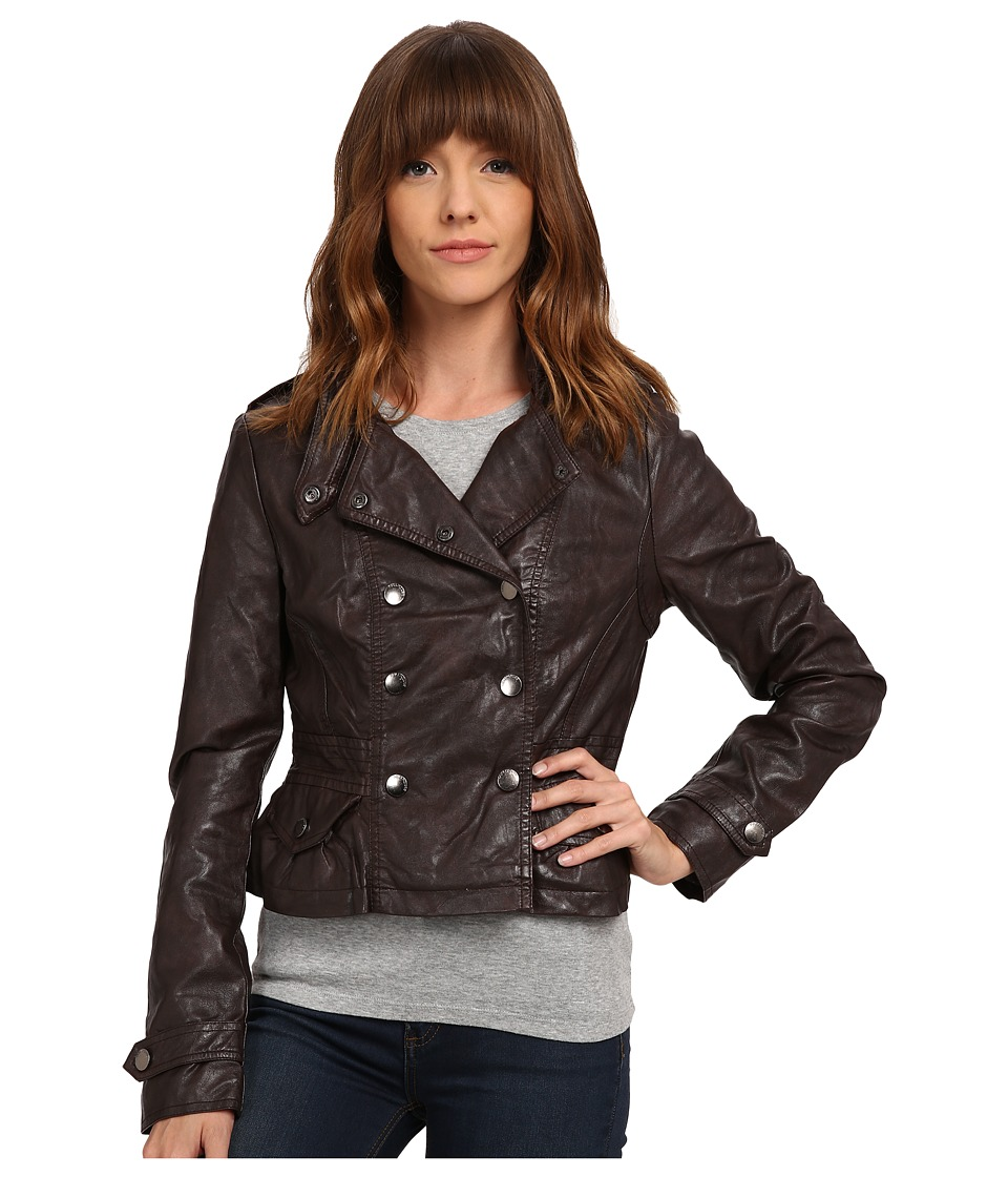 dollhouse - Double Breasted Snap Jacket w/ Peplum Bottom (Coffee) Women's Coat