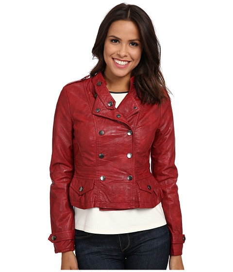 dollhouse - Double Breasted Snap Jacket w/ Peplum Bottom (Brilliant Red) Women's Coat