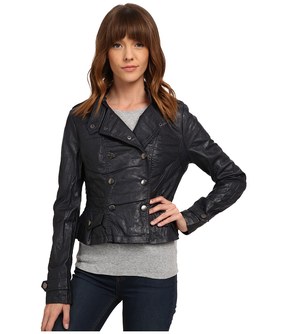 dollhouse - Double Breasted Snap Jacket w/ Peplum Bottom (Midnight Blue) Women's Coat