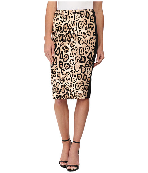 Vince Camuto - Animal Estate Back Zip Scuba Pencil Skirt (Rich Black) Women's Skirt