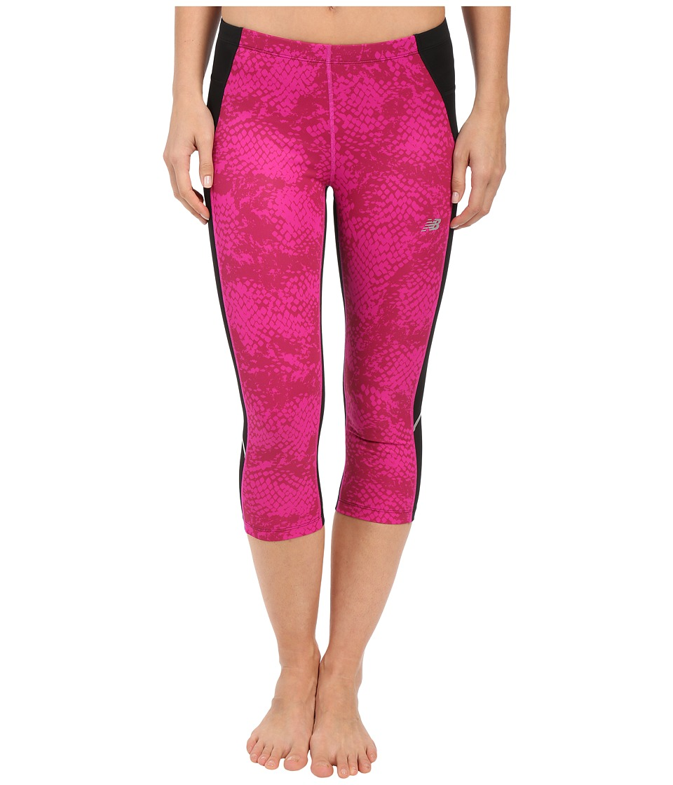 New Balance - Printed Accelerate Capri Pants (Azalea/Multi/Black) Women's Capri