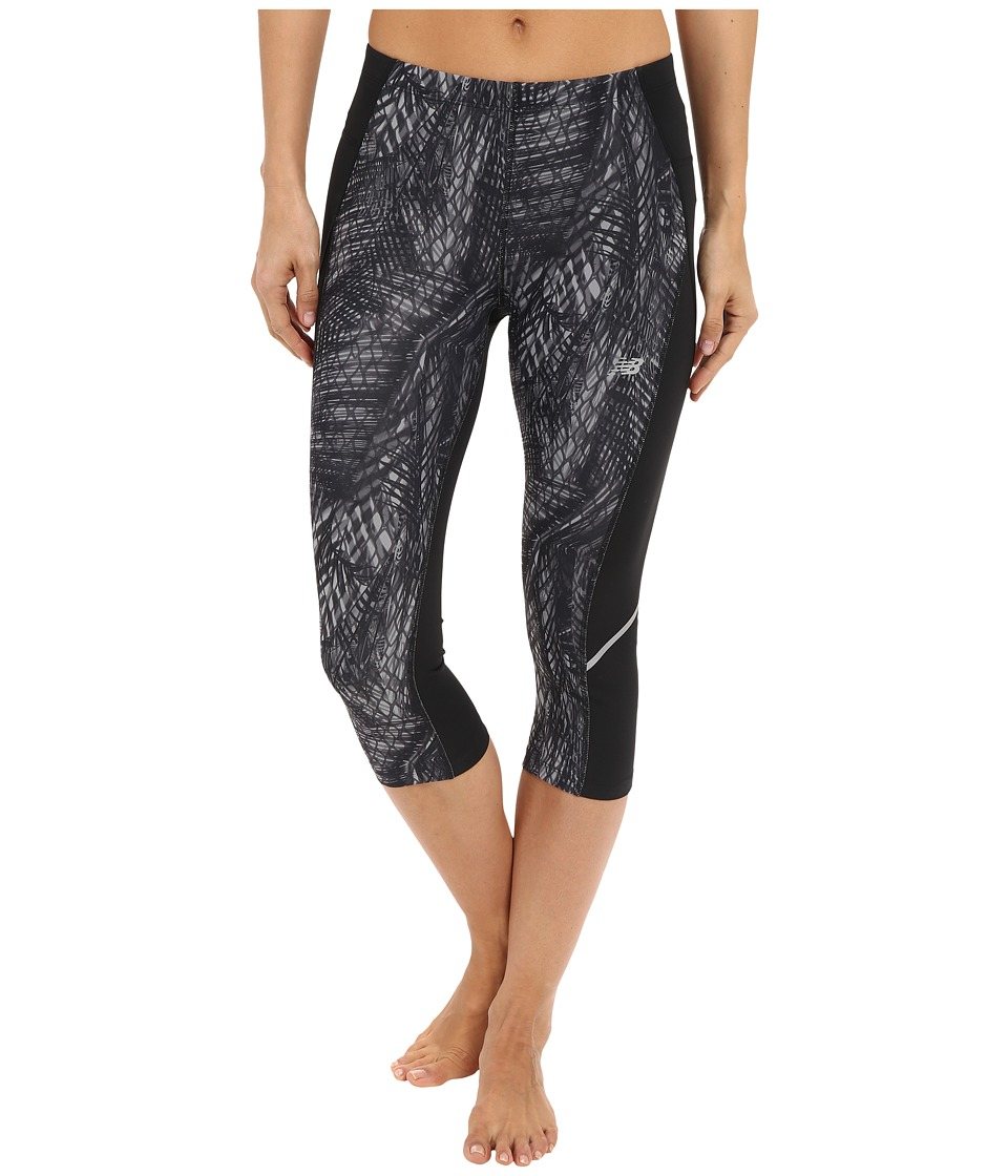 New Balance - Printed Accelerate Capri Pants (Black/Grey/Black) Women's Capri