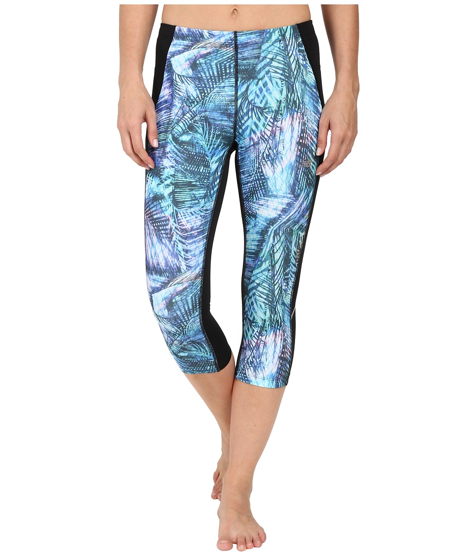 New Balance Printed Accelerate Capri Pants (Titan/Multi/Black) Women