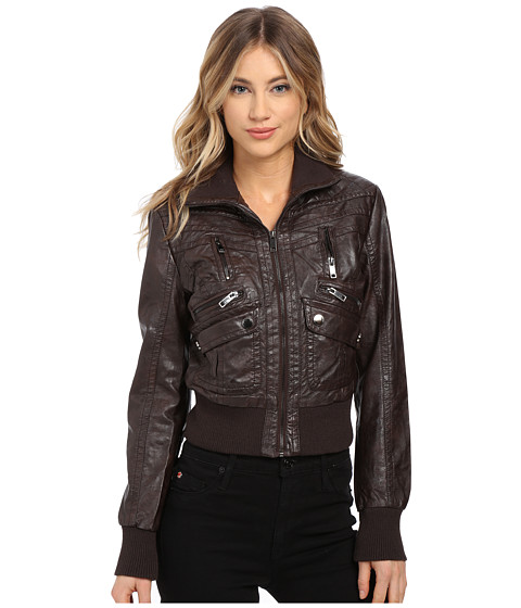 dollhouse - Multi Quilted Zip Bomber w/ Zip Up Knit Collar Trim (Coffee) Women