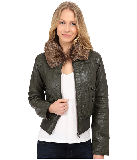 dollhouse - Zip Front Bomber Jacket w/ Det Faux Fur Collar (Military Green) Women's Coat
