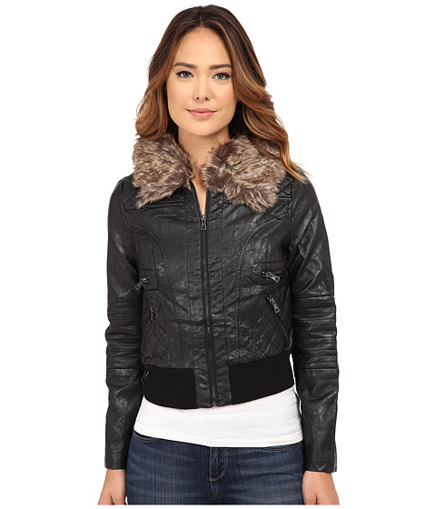 dollhouse - Zip Front Bomber Jacket w/ Det Faux Fur Collar (Black) Women
