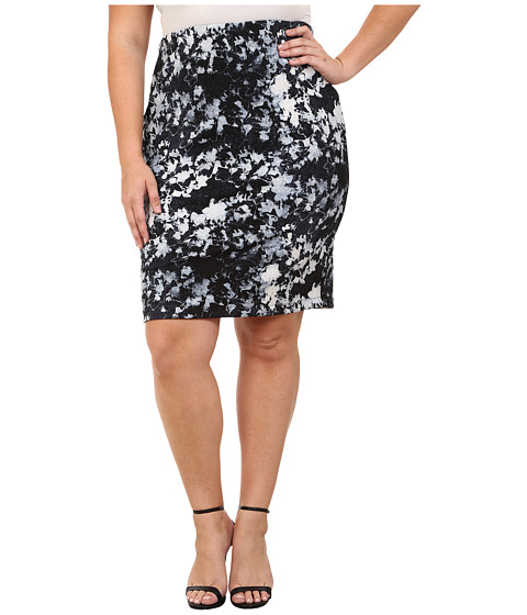 Vince Camuto Plus - Plus Size Floral Back Zip Scuba Pencil Skirt (Chambray 2) Women