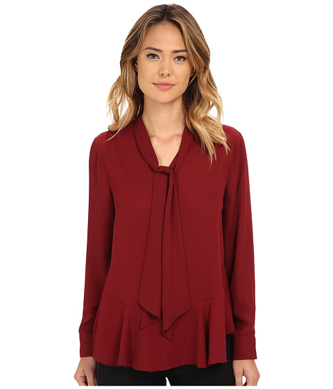 Vince Camuto - Tie Neck Ruffle Hem Blouse (Wine) Women's Blouse