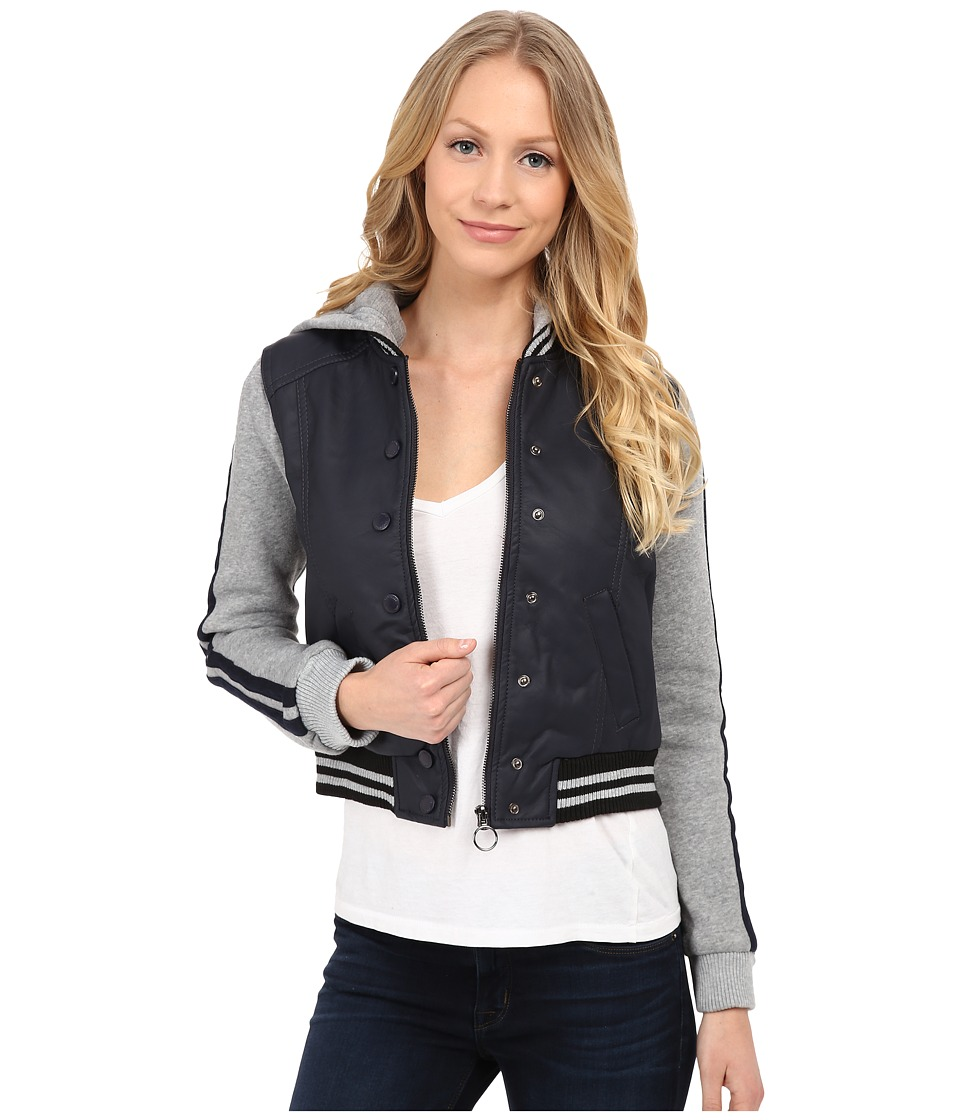 dollhouse - Zip Front Baseball Jacket w/ Racing Stripe Sleeves (Midnight Blue) Women's Coat