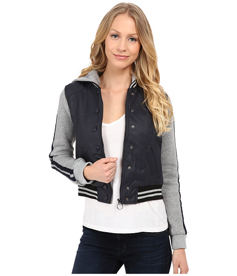 dollhouse - Zip Front Baseball Jacket w/ Racing Stripe Sleeves (Midnight Blue) Women's Coat