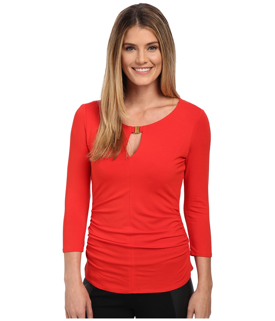 Vince Camuto - 3/4 Sleeve Keyhole Top w/ Hardware (Pepper) Women's Clothing
