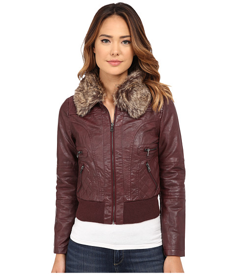 dollhouse - Zip Front Bomber Jacket w/ Det Faux Fur Collar (Brandy Wine) Women's Coat