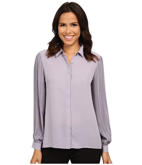 Vince Camuto - Long Sleeve Pleated Sleeve Button Front Blouse (Purple Haze) Women's Blouse
