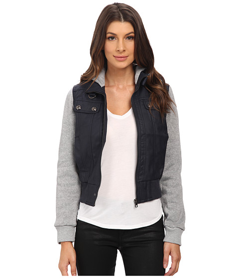 dollhouse - Zip Front Bomber w/ Knit Trim Button Off Hood (Midnight Blue) Women's Coat