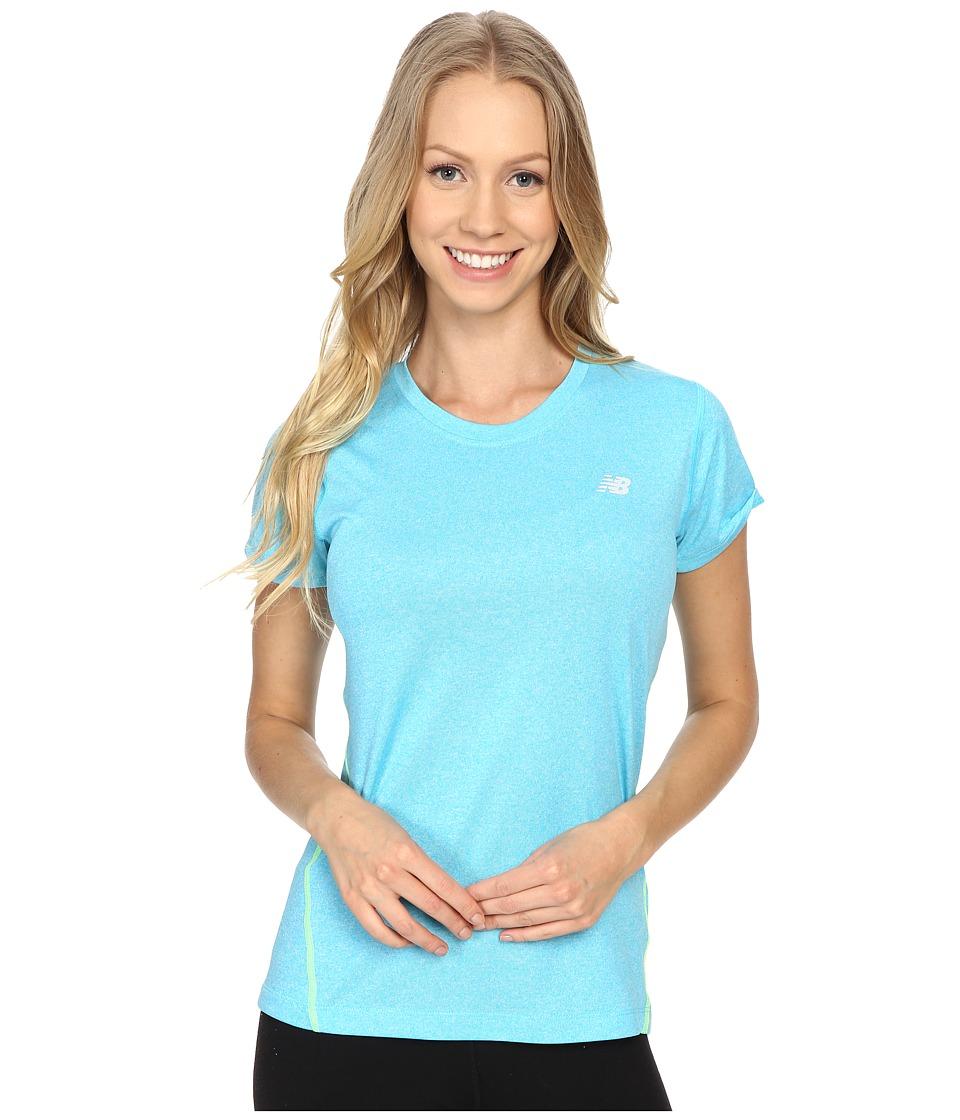 New Balance - Heathered Short Sleeve Tee (Bayside Heather) Women's Short Sleeve Pullover