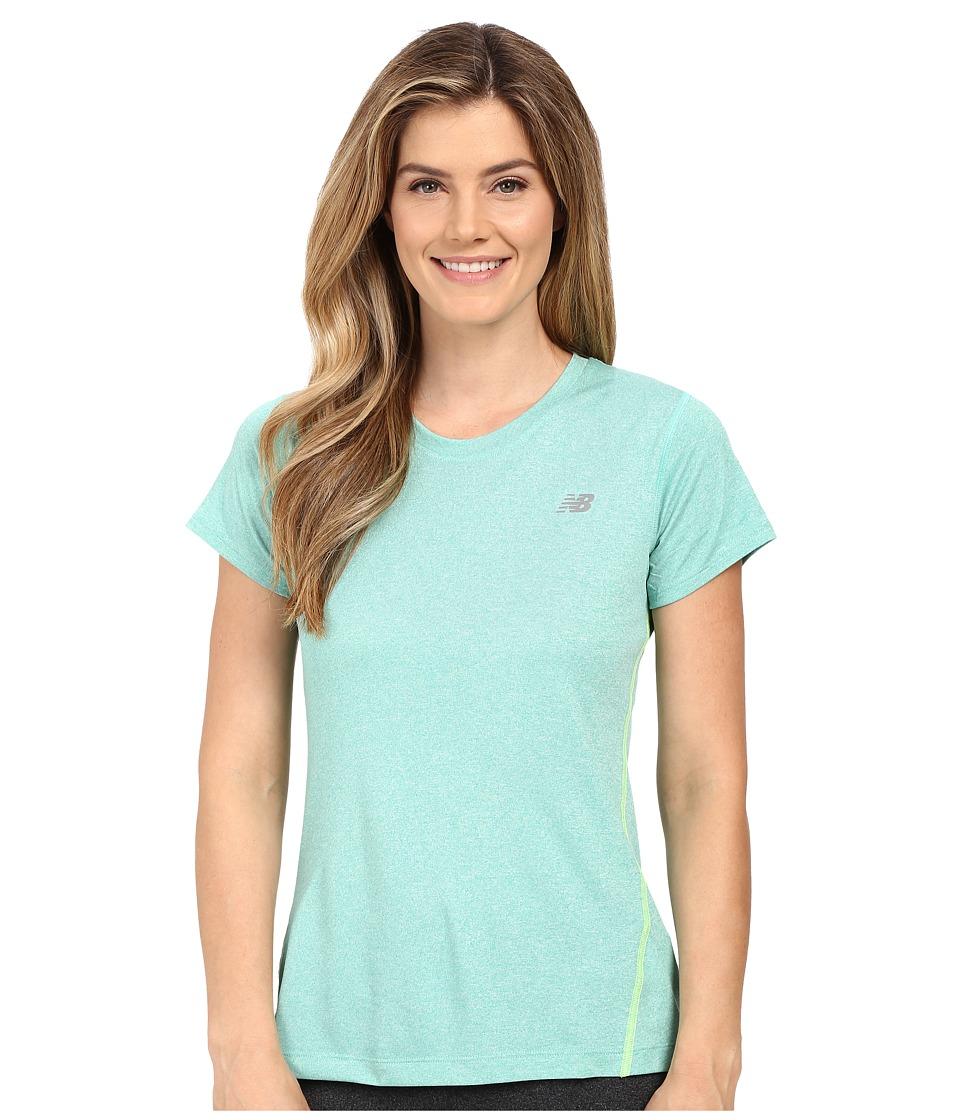 New Balance - Heathered Short Sleeve Tee (Reef Heather) Women's Short Sleeve Pullover