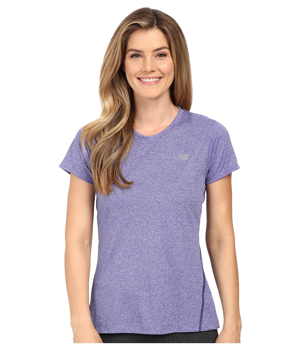 New Balance - Heathered Short Sleeve Tee (Titan Heather) Women's Short Sleeve Pullover