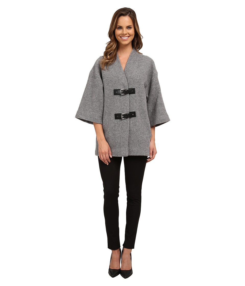 MICHAEL Michael Kors - Buckle Sweater Coat (Pearl Heather) Women