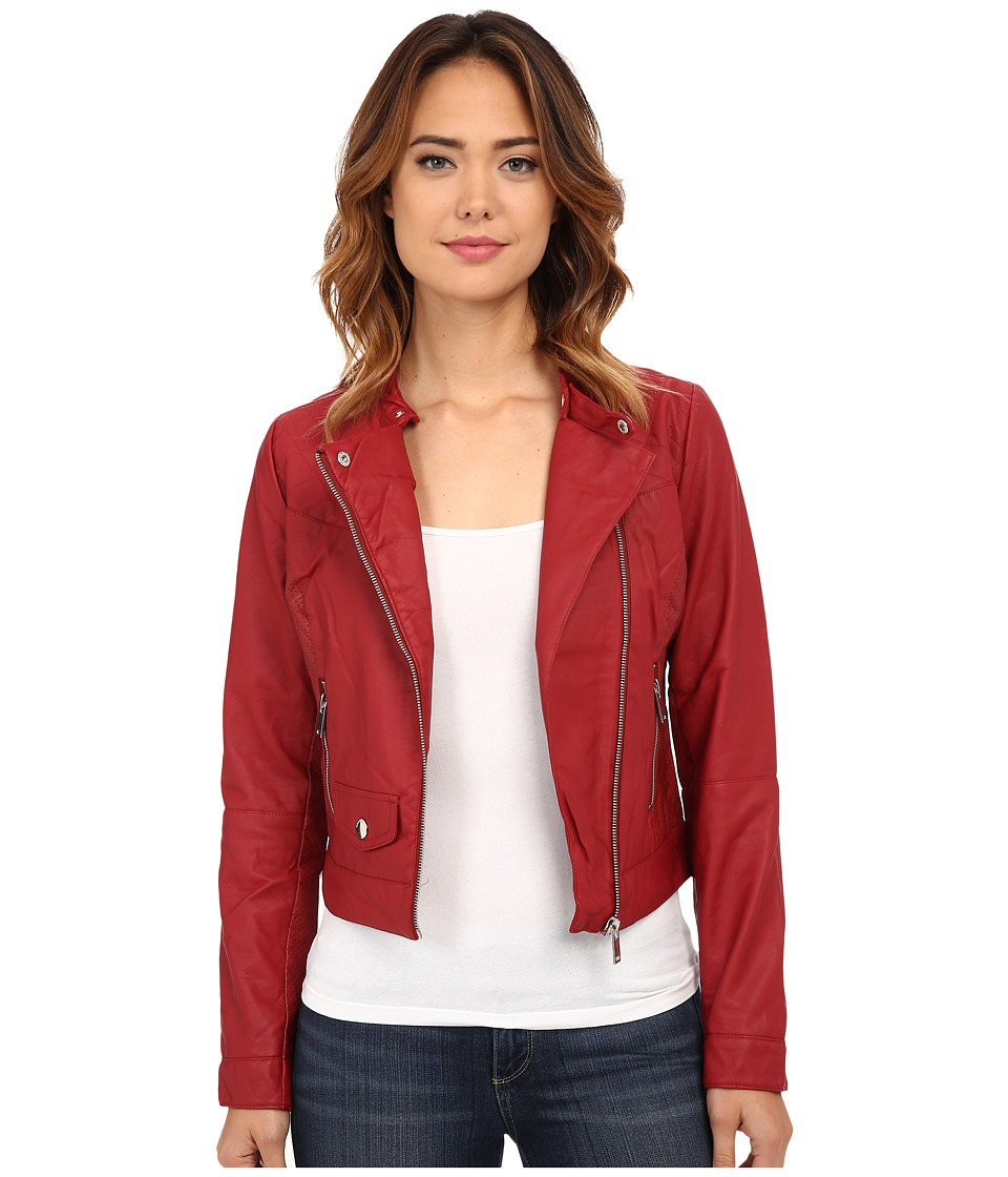 dollhouse - Asymmetric Zip Moto w/ Perforated Side Panels (Red) Women's Coat