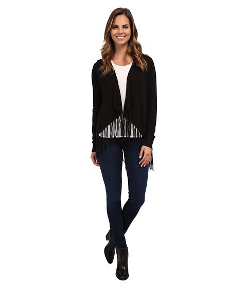 MICHAEL Michael Kors - Drape Front Fringe Cardigan (Black) Women's Sweater