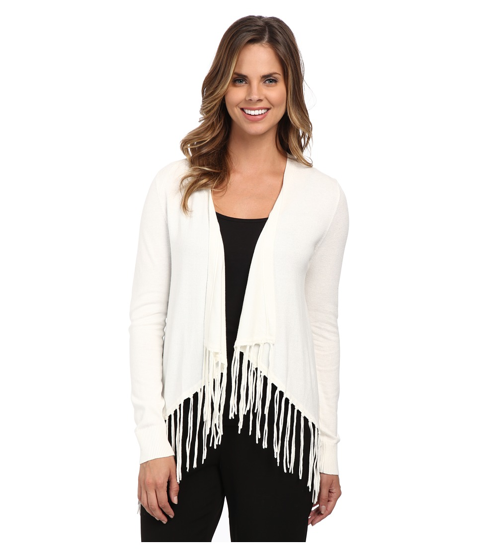 MICHAEL Michael Kors - Drape Front Fringe Cardigan (Cream) Women's Sweater