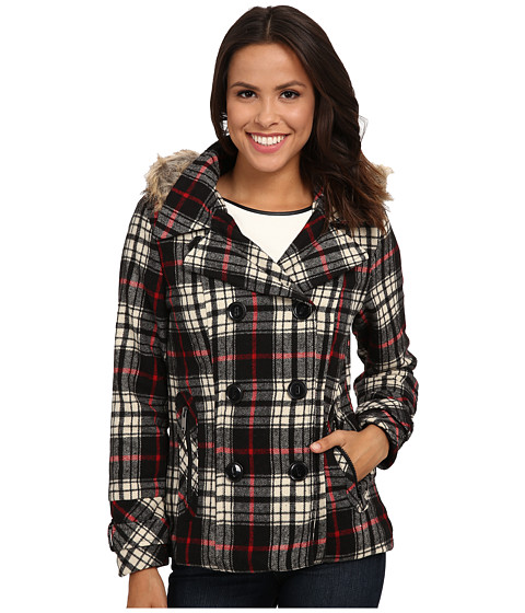 dollhouse - Double Breasted Peacoat w/ Back Belt Detail Det Faux Fur Hood (Adele Plaid) Women's Coat