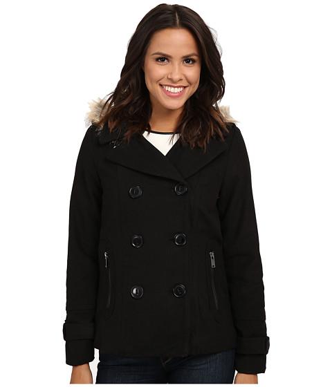 dollhouse - Double Breasted Peacoat w/ Back Belt Detail Det Faux Fur Hood (Black) Women's Coat