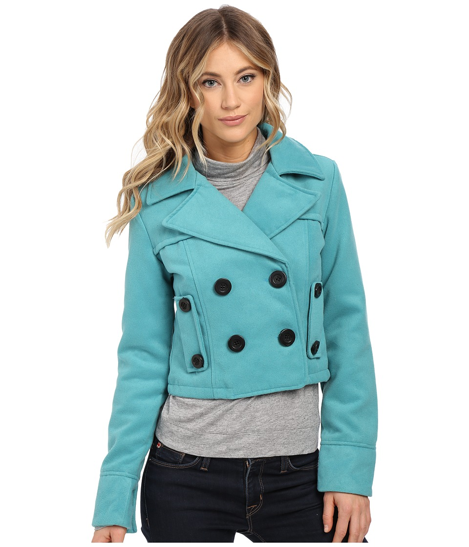 dollhouse - Double Breasted Notch Collar Crop Jacket (Smokey Blue) Women's Coat