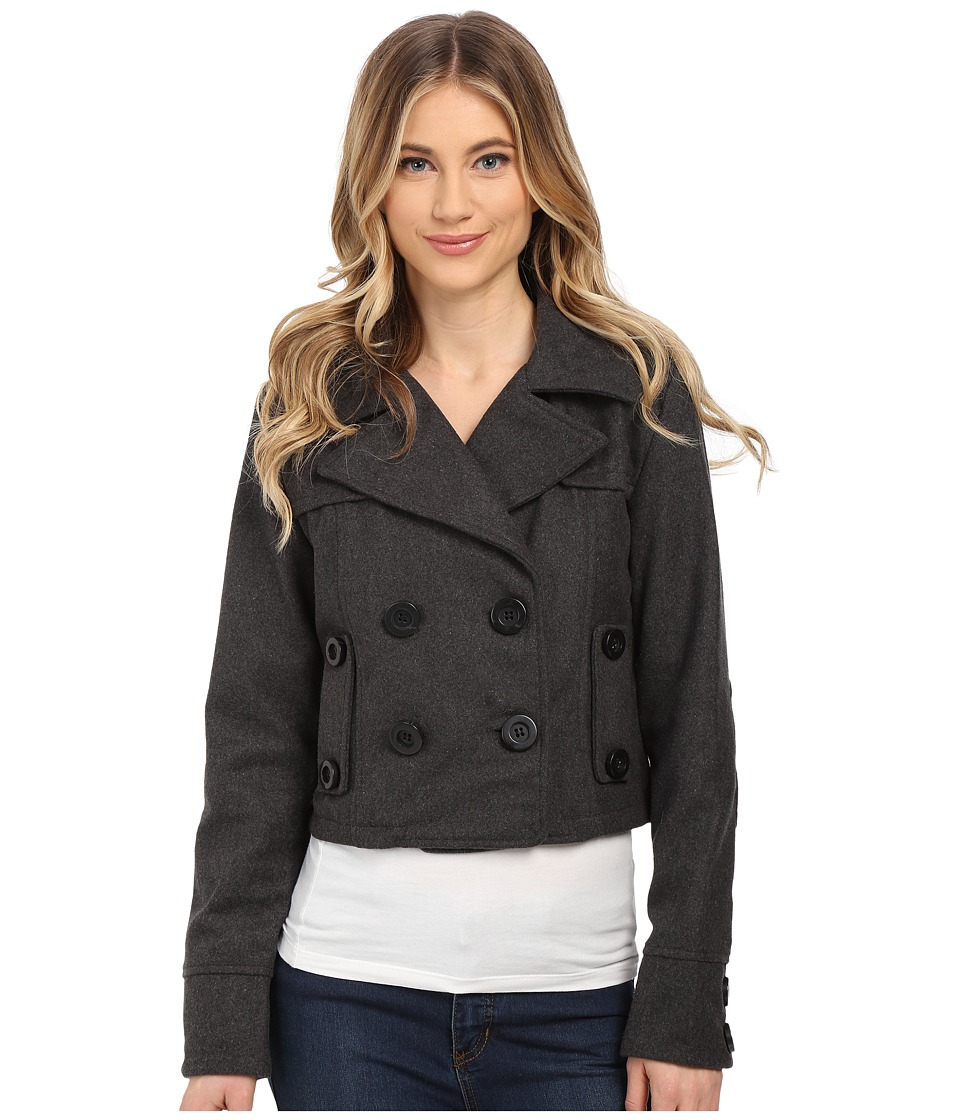 dollhouse - Double Breasted Notch Collar Crop Jacket (Charcoal) Women's Coat