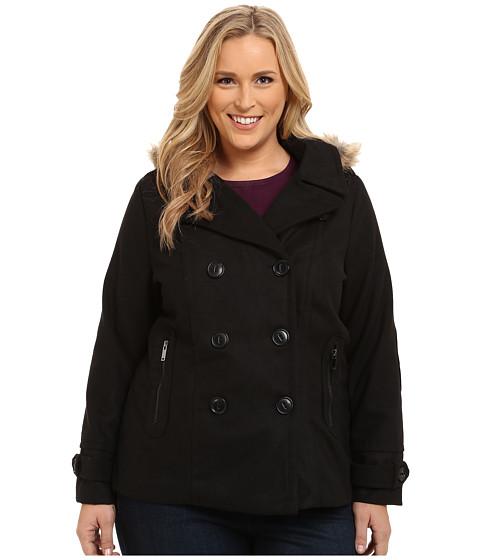 dollhouse - Plus Size-Double Breasted Peacoat w/ Back Belt Detail Det Faux Fur Hood (Black) Women