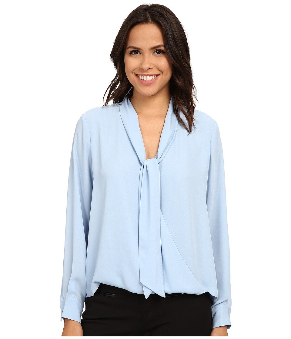 Vince Camuto - Long Sleeve Tie Neck Wrap Blouse (Light Chambray) Women