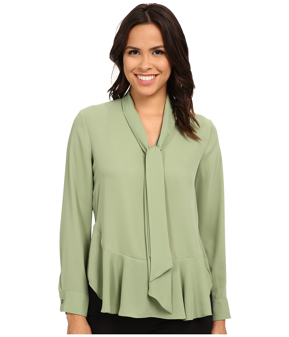 Vince Camuto - Tie Neck Ruffle Hem Blouse (Watercress) Women's Blouse