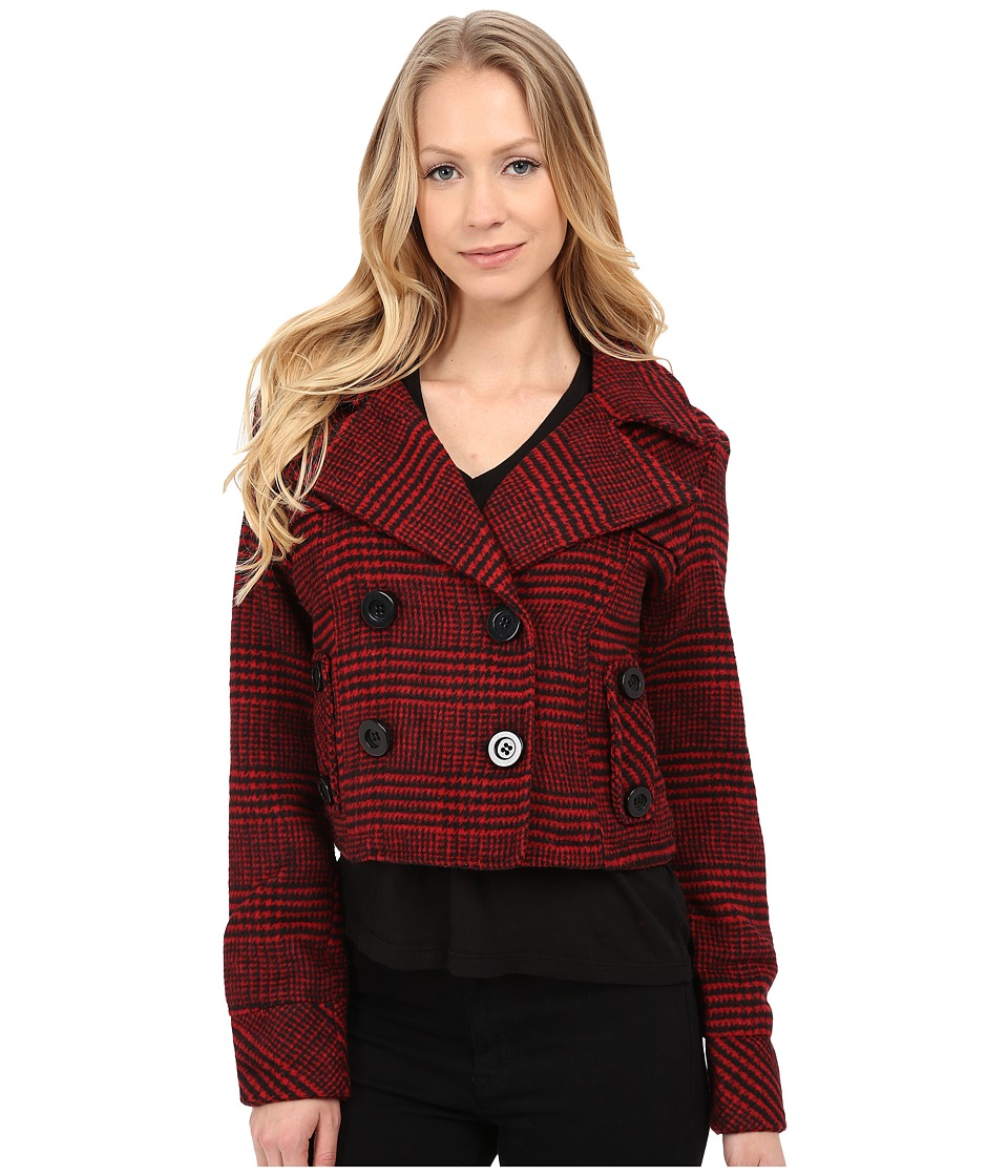 dollhouse - Double Breasted Notch Collar Crop Jacket (Dolce Plaid Red) Women's Coat
