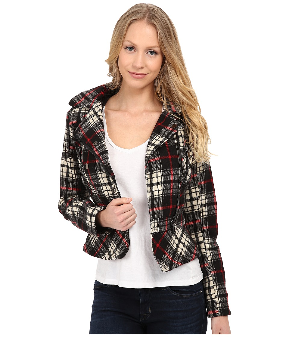 dollhouse - Asymetric Zip Jacket w\/ Peplum Bottom (Adele Plaid) Women's Jacket