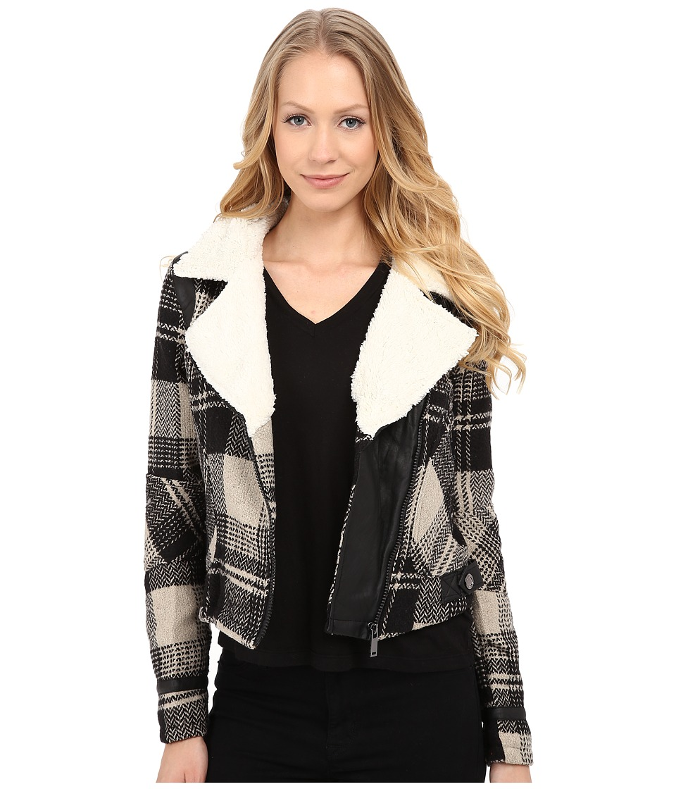 dollhouse - Asymetric Zip Jacket w/ Pile Collar PU Trim (Janis Plaid) Women's Coat