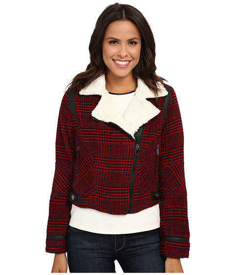 dollhouse - Asymetric Zip Jacket w/ Pile Collar PU Trim (Dolce Plaid Red) Women's Coat