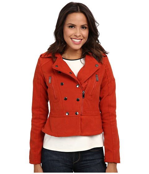 dollhouse - Asymetric Zip Jacket w/ Peplum Bottom (Blood Orange) Women