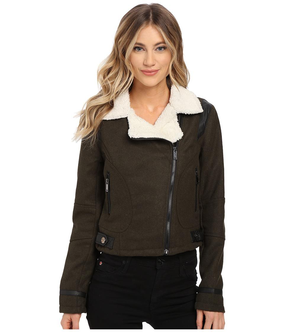 dollhouse - Asymetric Zip Jacket w/ Pile Collar PU Trim (Military Green) Women's Coat