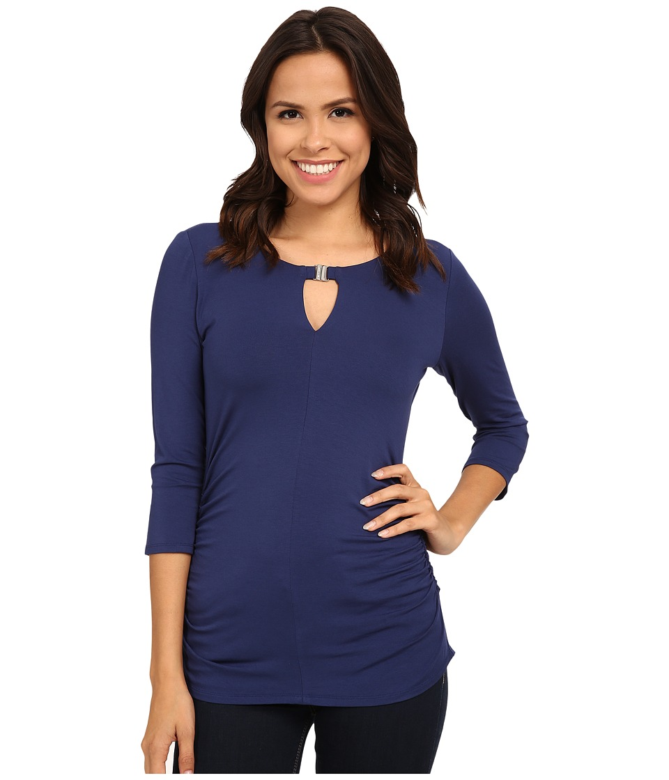 Vince Camuto - 3/4 Sleeve Keyhole Top w/ Hardware (Lunar Navy) Women's Clothing
