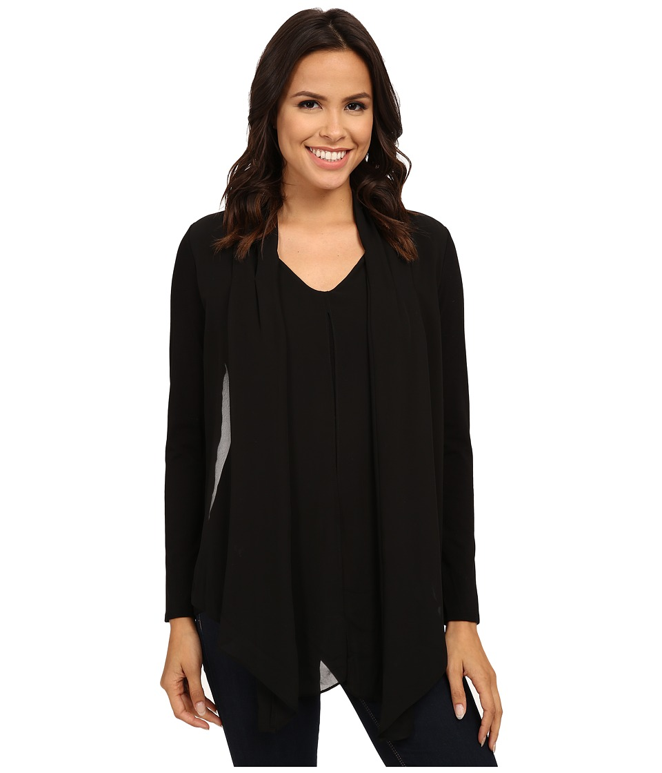 Vince Camuto - Mixed Media Top w/ Chiffon Overlay (Rich Black) Women's Clothing