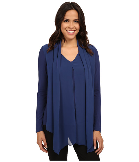 Vince Camuto - Mixed Media Top w/ Chiffon Overlay (Lunar Navy) Women's Clothing