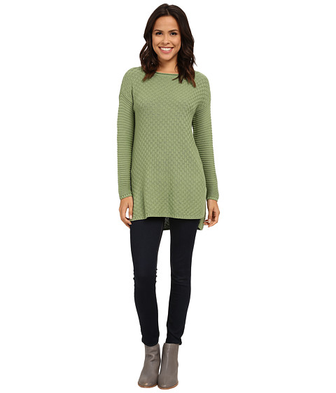Vince Camuto - Check and Rib Stitch Tunic (Watercress) Women's Sweater