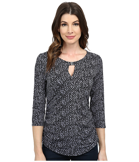 Vince Camuto - 3/4 Sleeve Checker Keyhole Top w/ Hardware (Purple Haze) Women's Clothing