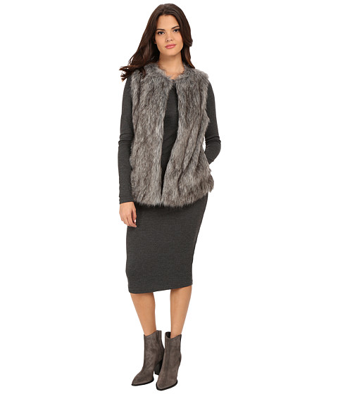 Vince Camuto - Long Hair Faux Fur Vest (Steel Heather) Women