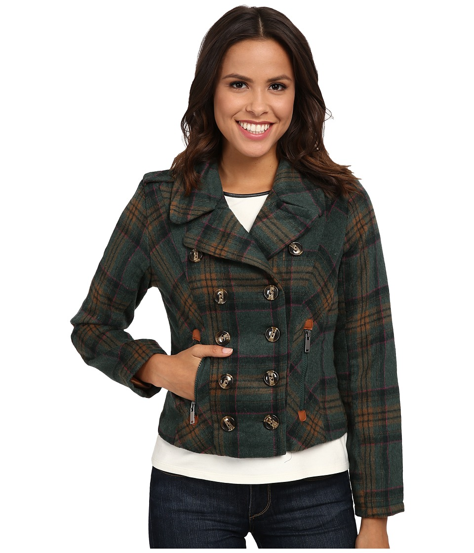 dollhouse - Double Breasted Notch Collar Jacket w\/ Zipper Pockets (Tori Plaid) Women's Coat