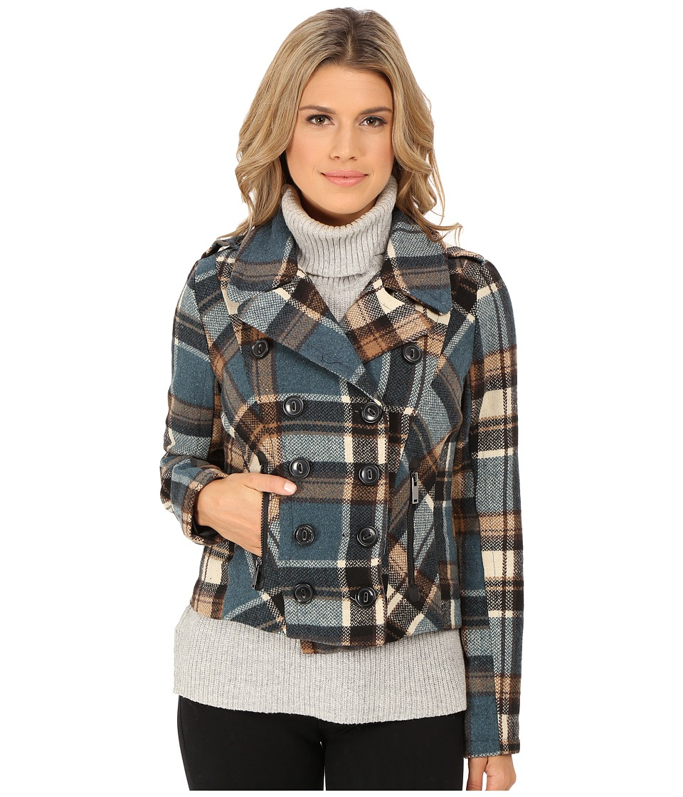dollhouse - Double Breasted Notch Collar Jacket w\/ Zipper Pockets (Taylor Plaid) Women's Coat