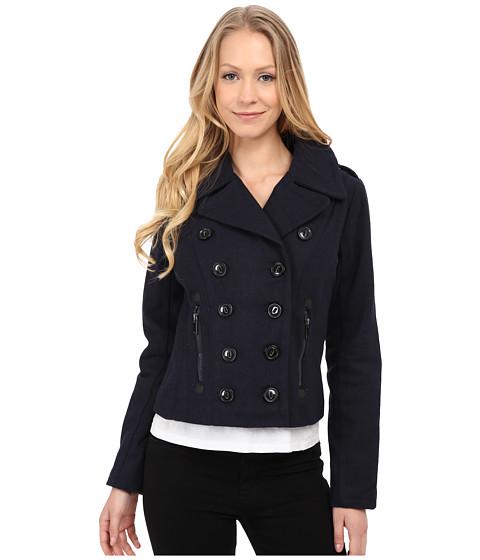 dollhouse - Double Breasted Notch Collar Jacket w/ Zipper Pockets (Navy) Women's Coat
