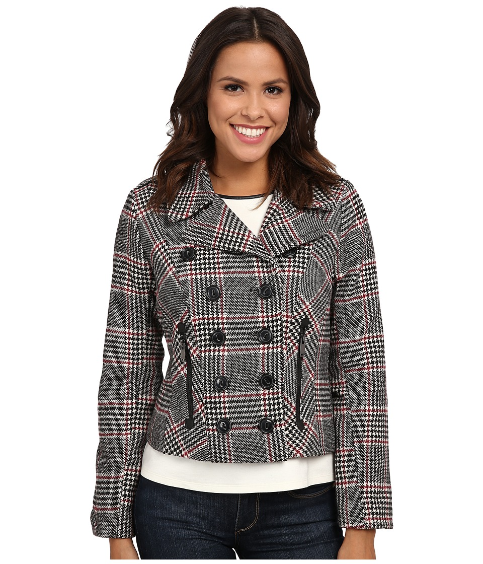 dollhouse - Double Breasted Notch Collar Jacket w\/ Zipper Pockets (Norah Plaid) Women's Coat